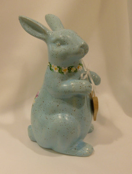 Hand Painted Blue Ceramic Bunny
