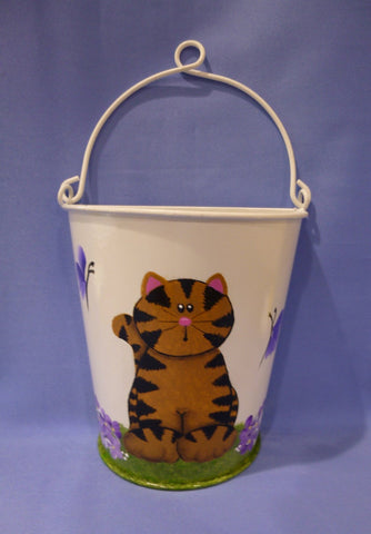 Hand Painted White Metal Container with Cat