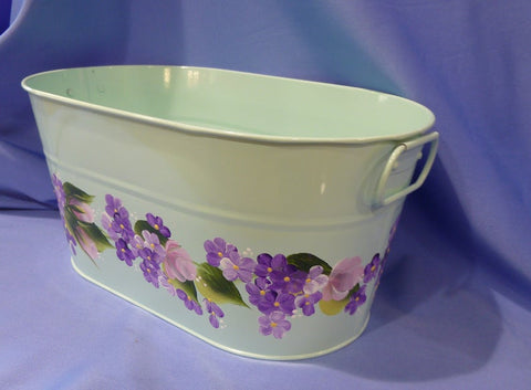 Hand Painted Mint Green Metal Container