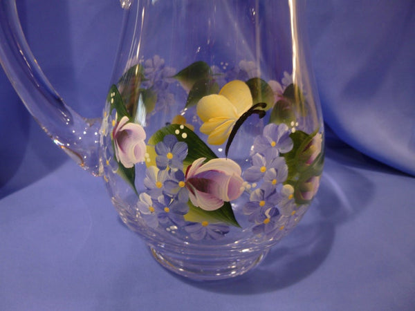 Hand Painted Glass Pitcher with Roses