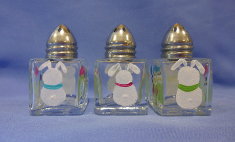 Hand Painted Mini Salt & Pepper Shakers with Bunnies