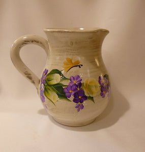 Hand Painted Beige Ceramic Pitcher