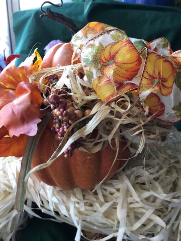 Pumpkin Fall Floral with Two Pumpkins