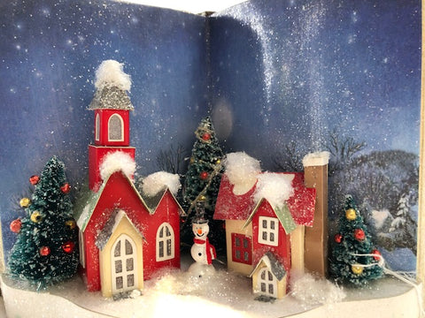 Christmas Village Courtyard Scene with Snowman in Open Decorative Book