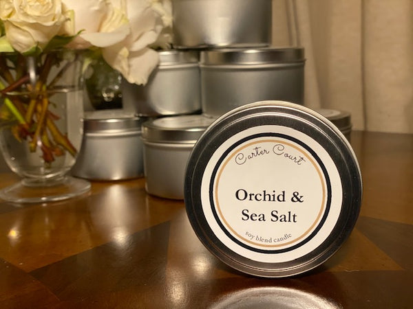 Orchid & Sea Salt Scented Soy Wax Candle