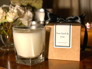 Lime, Basil & Rose Scented Soy Wax Candle