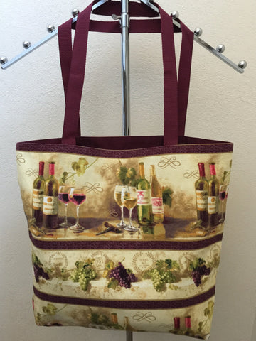 Uncorked Repeating Stripe - Rows of Wine Bottles and Glasses and Bunches of Grapes on Pale Yellow Tote Bag