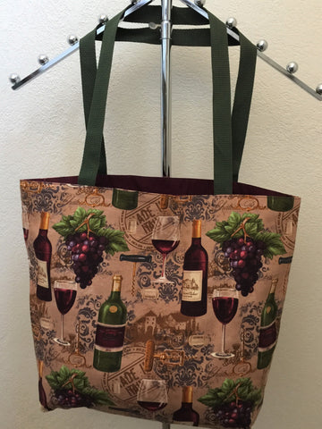 Vineyard Valley Bottles and Glasses of Red Wine on Light Cocoa Brown Tote Bag