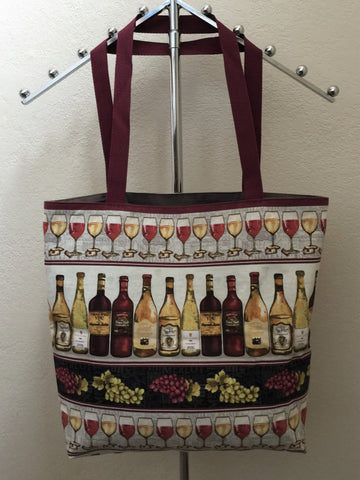 Wine Night Border Stripe with Alternating Rows of Wine Glasses and Wine Bottles Tote Bags