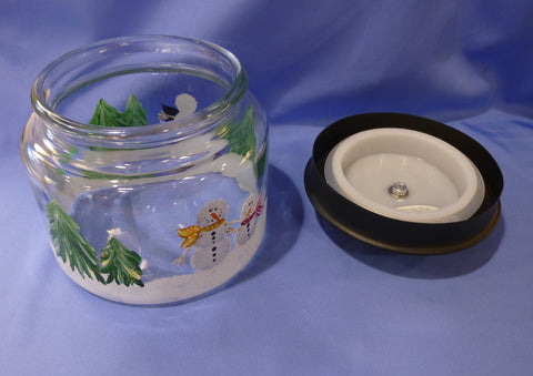 Hand Painted Glass Container with Snowmen