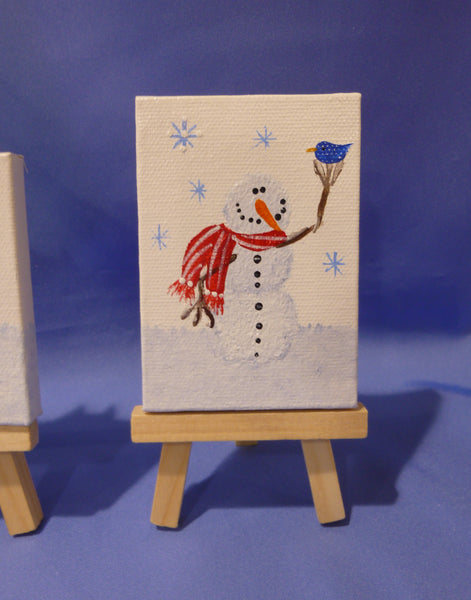 Mini Snowman with Scarf on Canvas with Easel