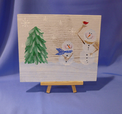 Snowmen on Wood with Easel