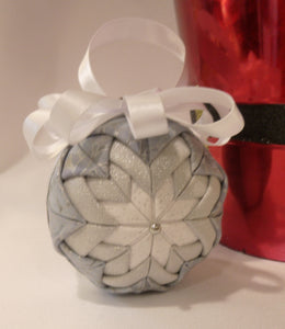 Silver & Gray Holiday Fabric Ornament