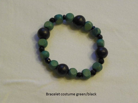 Green & Black Beads Costume Bracelet