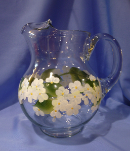 Hand Painted Glass Pitcher with White Daisies