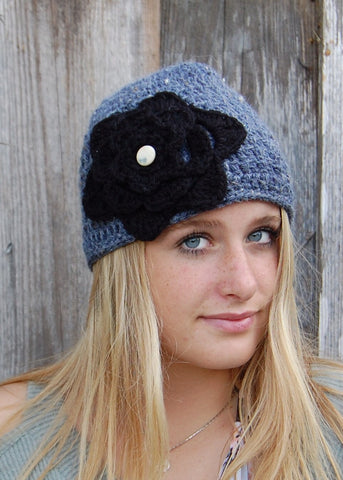 Gray Blue wool Blend Cloche with Large Black Crochet Flower with Small white Button Center