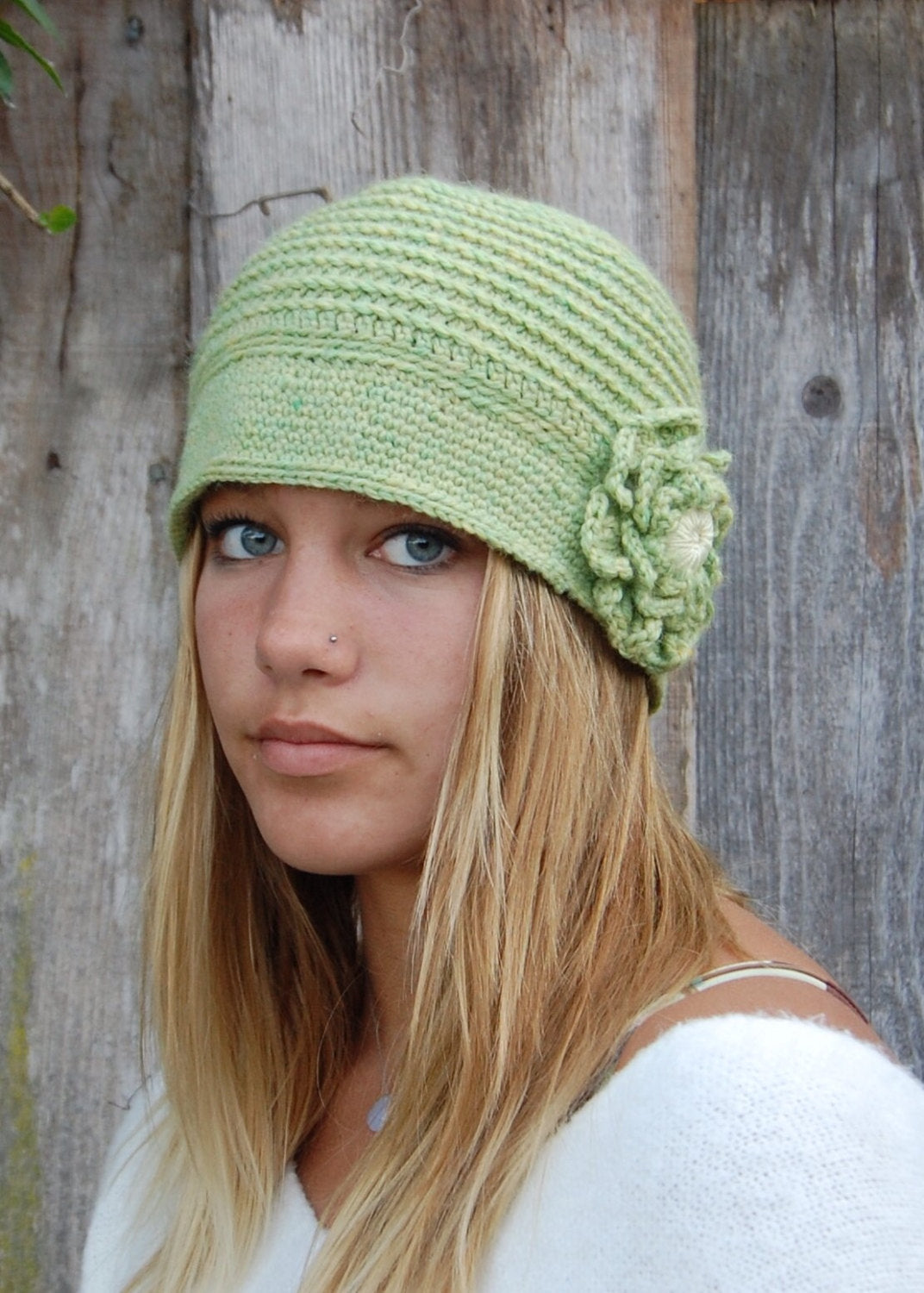 Wool Blend Heather Leaf Green Cloche with Large Flower
