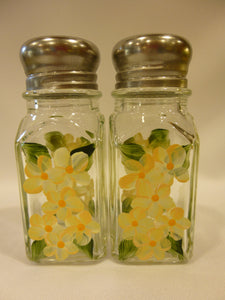 Hand Painted Salt and Pepper Shakers - Yellow Daisies