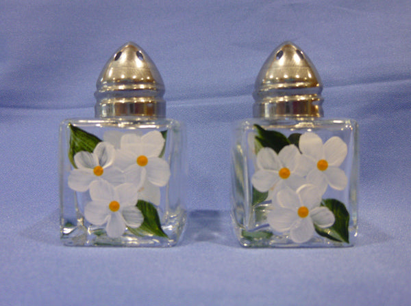 Hand Painted Mini Salt and Pepper Shakers - White Flowers