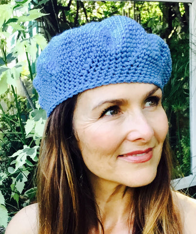 Blue Beret with Simple Pattern