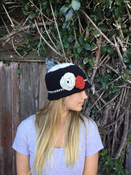 Black Cloche with Off White And Red Flower