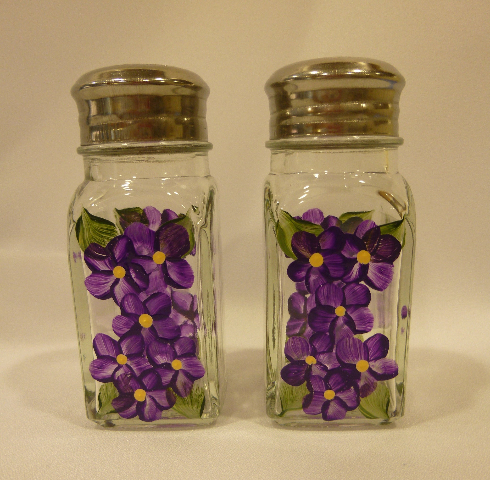 Hand Painted Salt and Pepper Shakers - Lavender Flowers