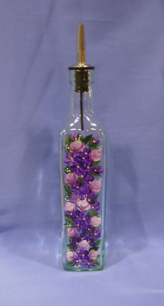 Hand Painted Olive Oil Bottle - Pink Roses, Purple Flowers