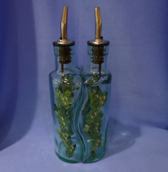 Hand Painted Oil and Vinegar Bottle Set - Green Berries
