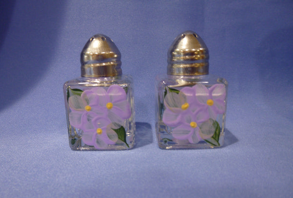 Hand Painted Mini Salt and Pepper Shakers - Lavender Flowers