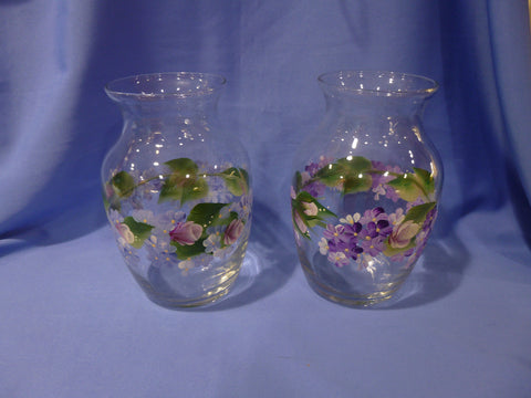 "Hand Painted 7"" Glass Vase - Series"