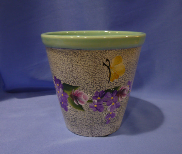 Hand Painted Ceramic Pot with Flower Vine