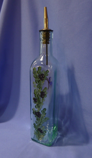 Hand Painted Olive Oil Bottle - Blue Berries
