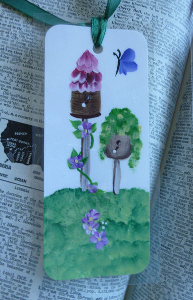 Hand Painted Bookmark of Birdhouses - Series 1