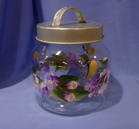 Hand Painted Glass Container with Metal Lid - Roses & Purple Daisies