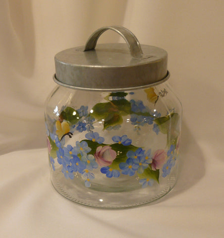 Hand Painted Glass Container with Metal Lid - Roses & Blue Daisies