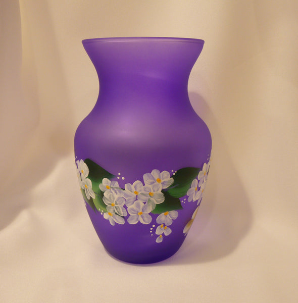 Hand Painted Frosted Lavender Vase with White Flowers