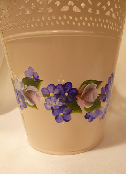 Hand Painted Pierced Pink Metal Pot