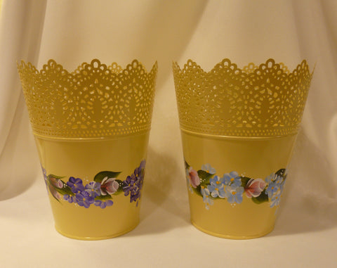 Hand Painted Pierced Yellow Metal Pot