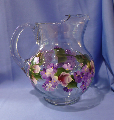 Hand Painted Round Glass Pitcher - Pink Roses Purple Hydrangeas