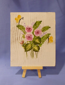 Hand Painted Small Wood Painting with Wood Easel
