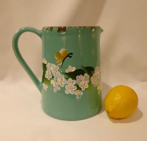Hand Painted Turquoise Rustic Ceramic Pitcher