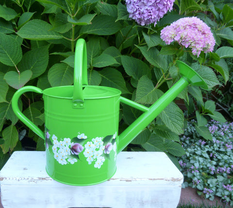 Hand Painted Spring Green Enamel Watering Can