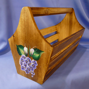 Hand Painted Wood Tote Storage Container - Roses, Hydrangeas, Violets