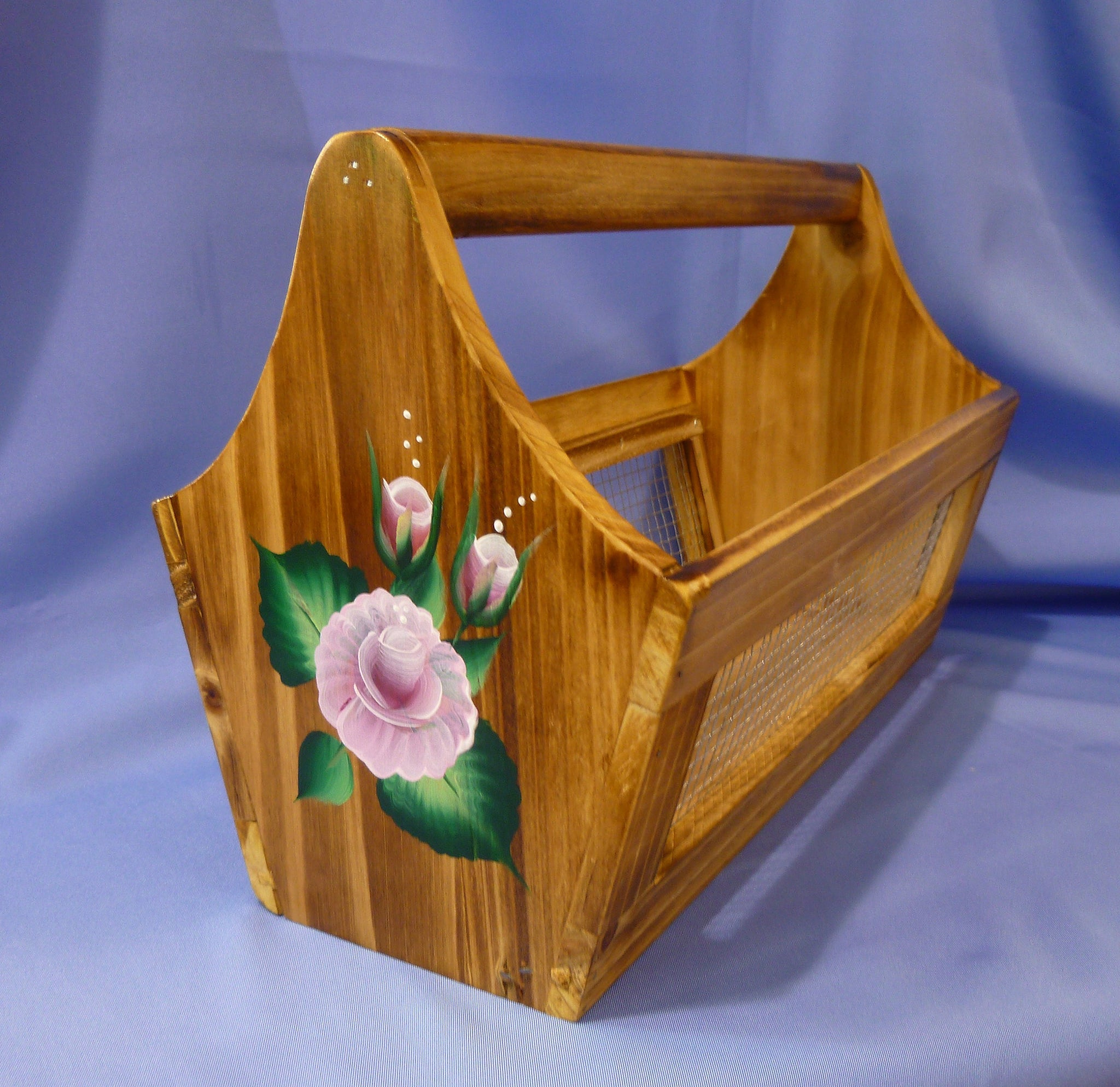 Hand Painted Wood Tote Storage Container - Pink Roses