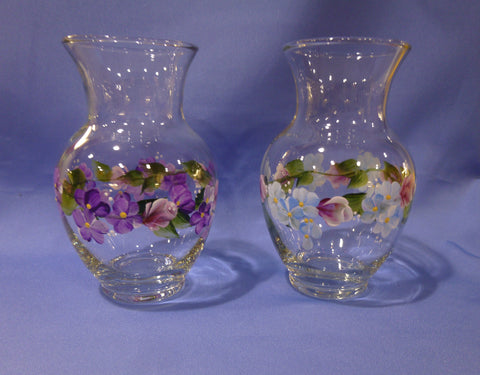 Hand Painted Small Glass Bell Shaped Vase