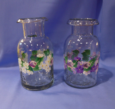 Hand Painted Glass Vase with Rolled Edge - Series