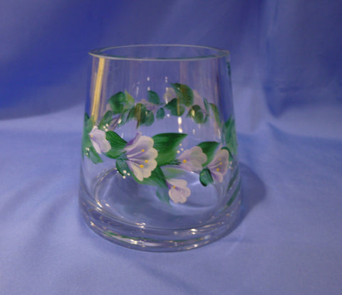 Hand Painted Heavy Clear Vase with Lavender Flowers