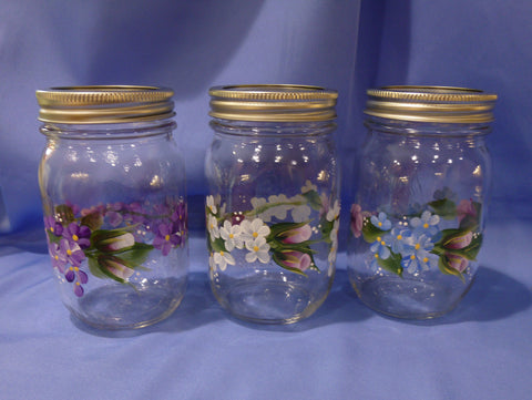 Hand Painted Pint Mason Jar - Series 2
