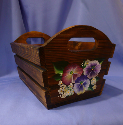 Hand Painted Wood Storage Container - Roses & Violets