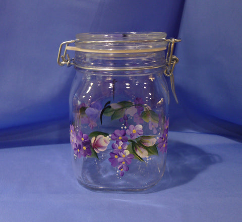 Hand Painted Glass Container with Latch Lid